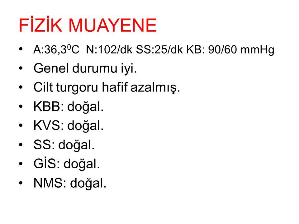 FİZİK MUAYENE A:36,3 0 C N:102/dk SS:25/dk KB: 90/60 mmHg Genel durumu iyi. Cilt turgoru hafif azalmış. KBB: doğal. KVS: doğal. SS: doğal. GİS: doğal.