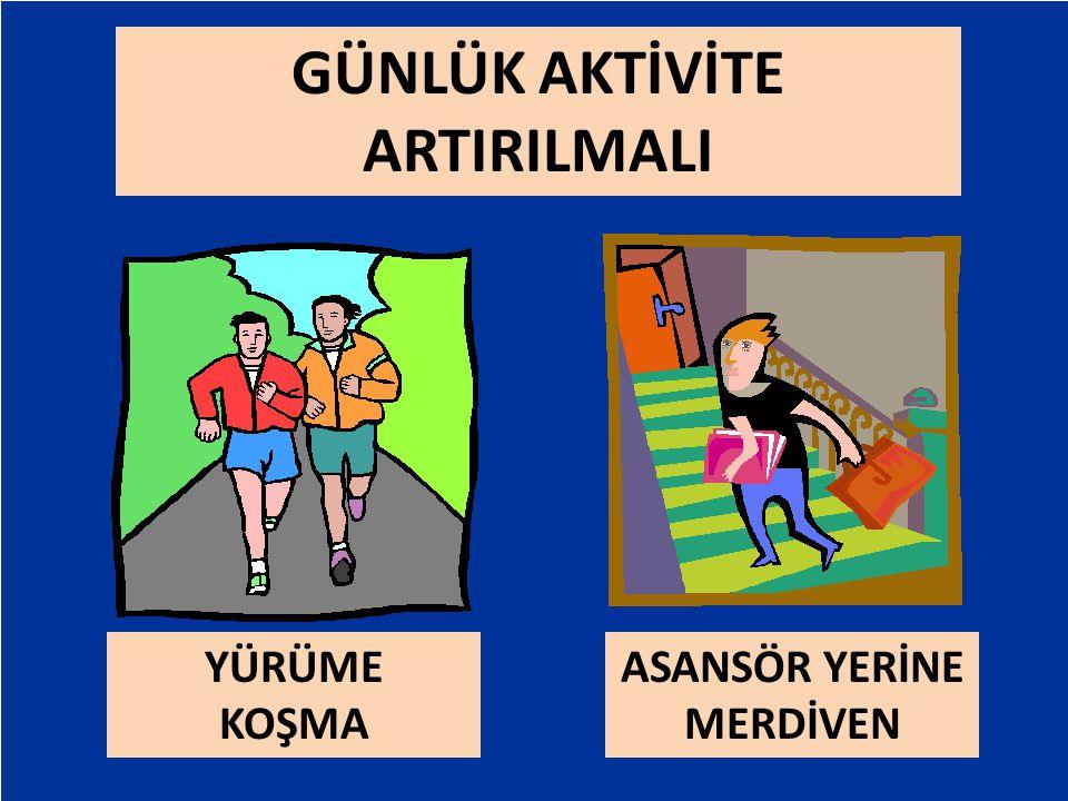 Exercise vs. Lifestyle Physical Activity ExerciseLifestyle Physical Activity GÜNLÜK AKTİVİTE ARTIRILMALI ASANSÖR YERİNE MERDİVEN YÜRÜME KOŞMA