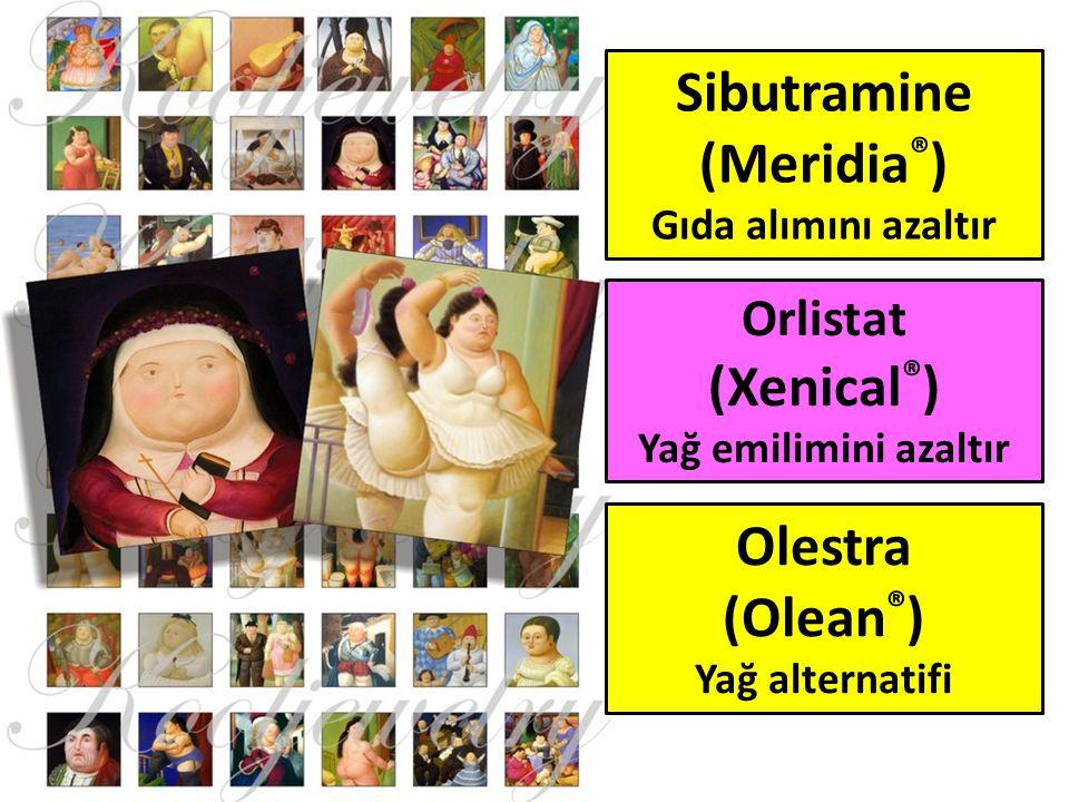 Sibutramine (Meridia ® ) Gıda alımını azaltır Orlistat (Xenical ® ) Yağ emilimini azaltır Olestra (Olean ® ) Yağ alternatifi
