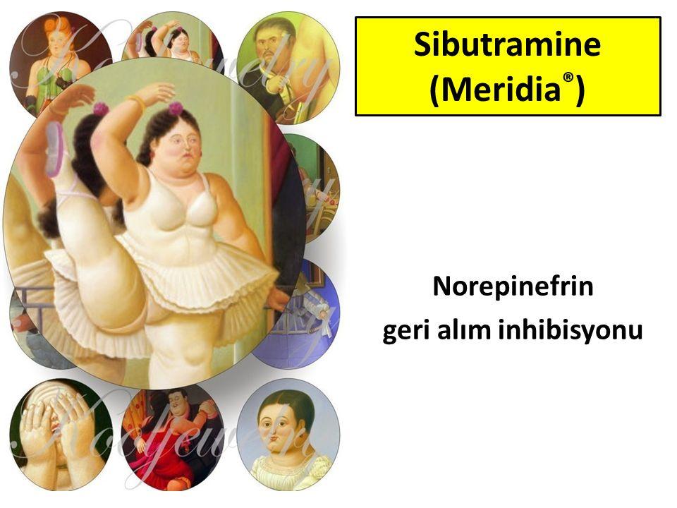 Tokluk hissini artırır Bazal metabolik hızı artırır Norepinefrin geri alım inhibisyonu SSS yan etkileri İlaç etkileşimi Sibutramine (Meridia ® )