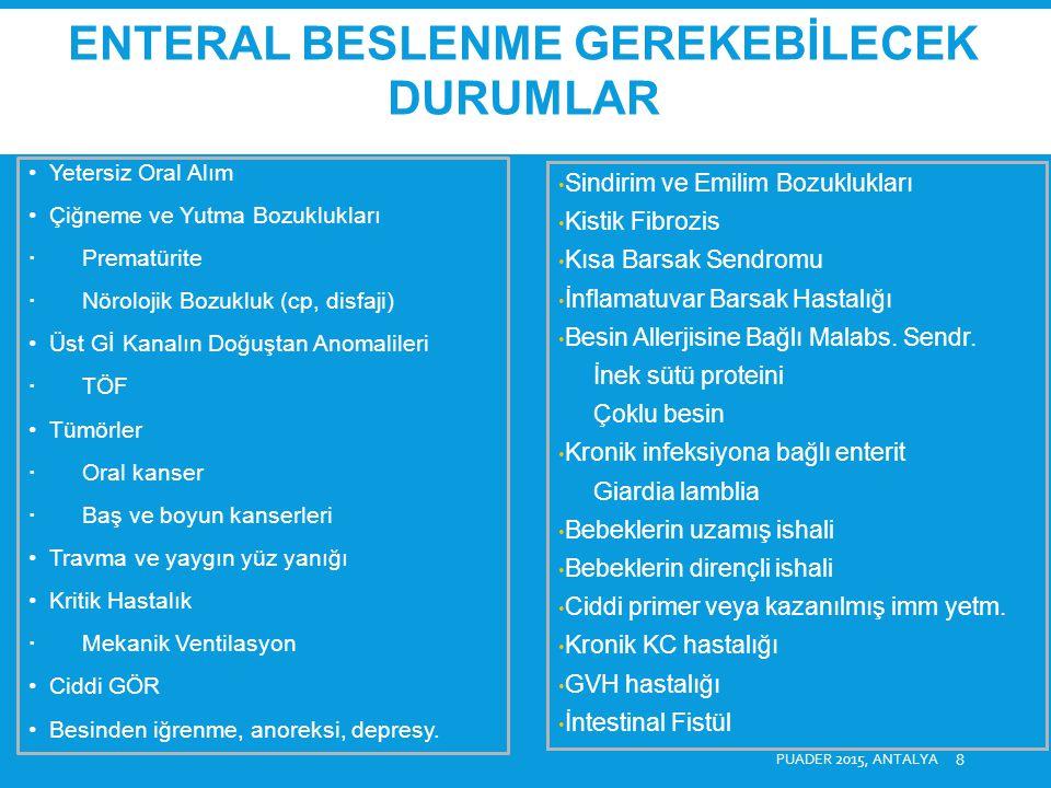 PUADER 2015, ANTALYA 9 Büyüme Geriliği ve Kronik Malnütrisyon (üsttekilere ek olarak) Anoreksiya nervoza Organik olmayan büyüme duraklaması Crohn Hastalığı: Remisyon indüksiyonu için primer hastalık tedavisi Metabolik Hastalıklar Gİ Motilite Bozuklukları Kronik Psödoobstrüksiyon Yaygın İleokolonik Hirschprung Artmış Besin Gereksinimi ve Kayıplar Kistik Fibrozis Kronik solid organ hastalıkları (böbrek, kalp, KC) İBH (Crohn, ÜK) Multipl Travma, aşırı yanıklar