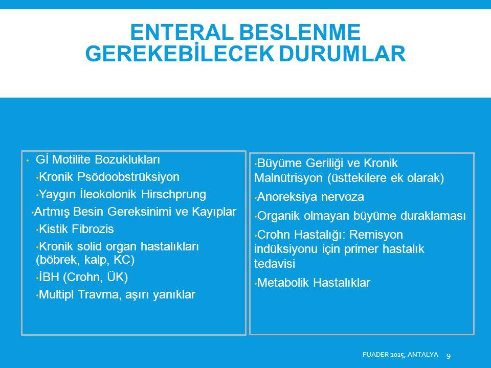 ENTERAL BESLENME DESTEĞİ KONTRENDIKASYONLARI Paralitik veya mekanik ileus, İntestinal obstrüksiyon, perforasyon, Nekrotizan enterokolit.