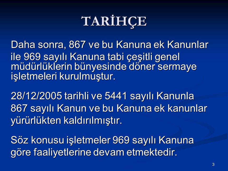 3 TARİHÇE Daha sonra, 867 ve bu Kanuna ek Kanunlar Daha sonra, 867 ve bu Kanuna ek Kanunlar ile 969 sayılı Kanuna tabi çeşitli genel müdürlüklerin bün