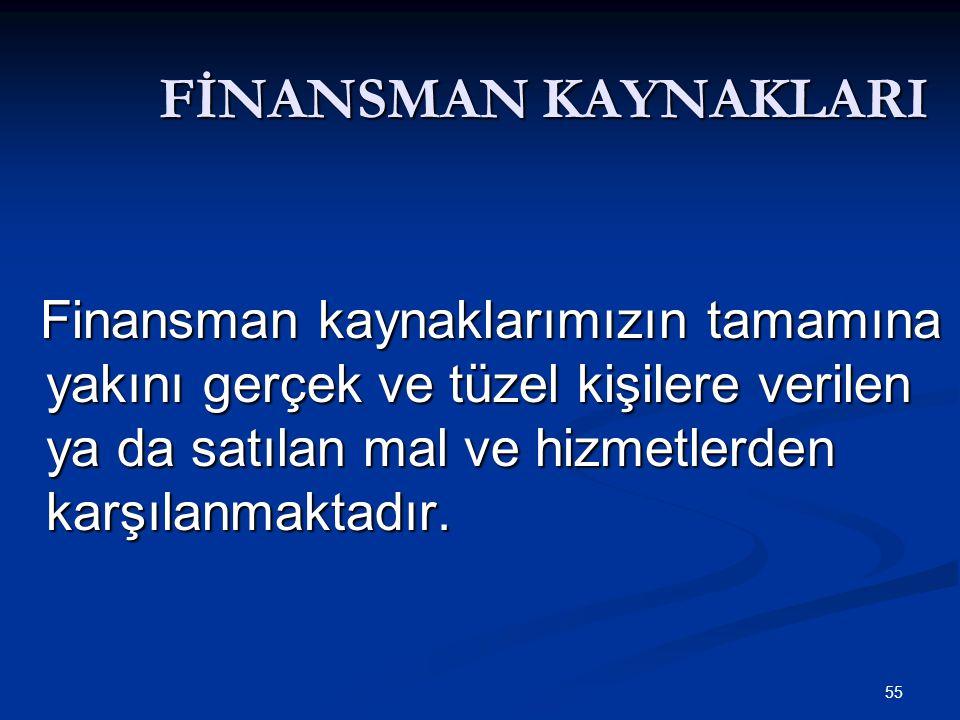 55 FİNANSMAN KAYNAKLARI Finansman kaynaklarımızın tamamına yakını gerçek ve tüzel kişilere verilen ya da satılan mal ve hizmetlerden karşılanmaktadır.