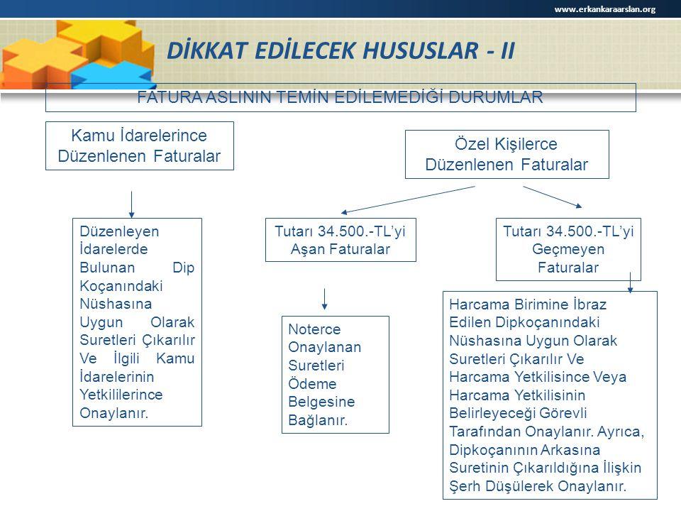 DİKKAT EDİLECEK HUSUSLAR - II FATURA ASLININ TEMİN EDİLEMEDİĞİ DURUMLAR Kamu İdarelerince Düzenlenen Faturalar Özel Kişilerce Düzenlenen Faturalar Düz