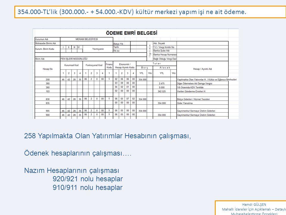 www.erkankaraarslan.org 354.000-TL'lik (300.000.- + 54.000.-KDV) kültür merkezi yapım işi ne ait ödeme. Hamdi GÜLŞEN Mahalli İdareler İçin Açıklamalı
