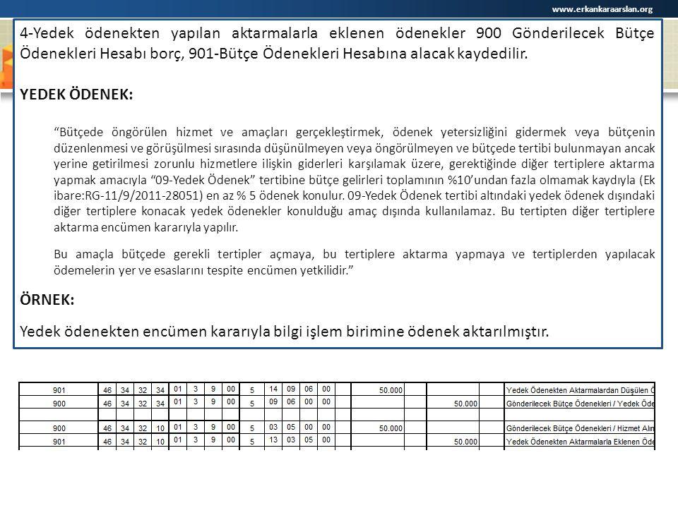 www.erkankaraarslan.org 4-Yedek ödenekten yapılan aktarmalarla eklenen ödenekler 900 Gönderilecek Bütçe Ödenekleri Hesabı borç, 901-Bütçe Ödenekleri H