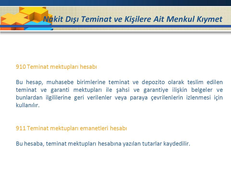 Nakit Dışı Teminat ve Kişilere Ait Menkul Kıymet 910 Teminat mektupları hesabı Bu hesap, muhasebe birimlerine teminat ve depozito olarak teslim edilen