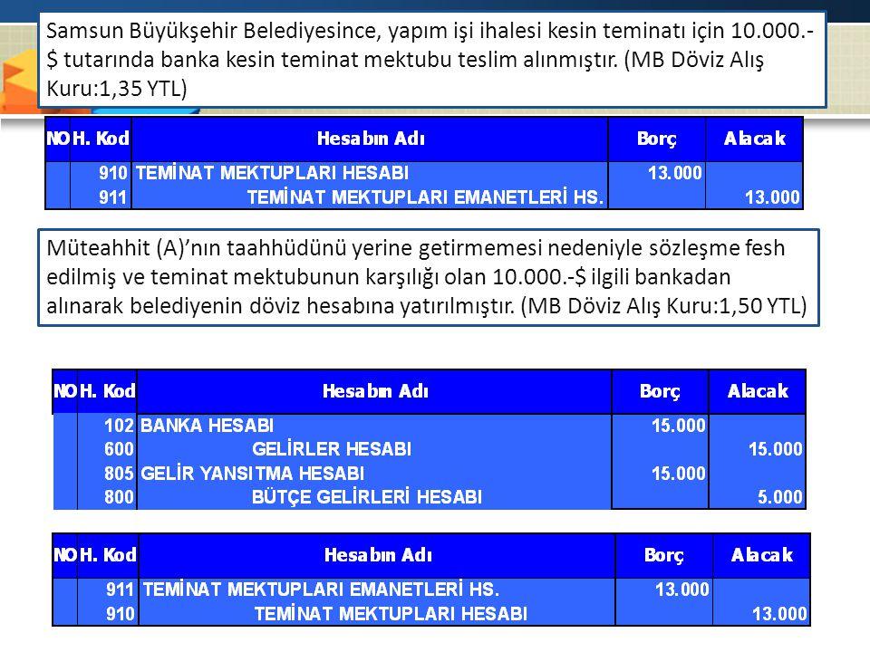 Samsun Büyükşehir Belediyesince, yapım işi ihalesi kesin teminatı için 10.000.- $ tutarında banka kesin teminat mektubu teslim alınmıştır. (MB Döviz A