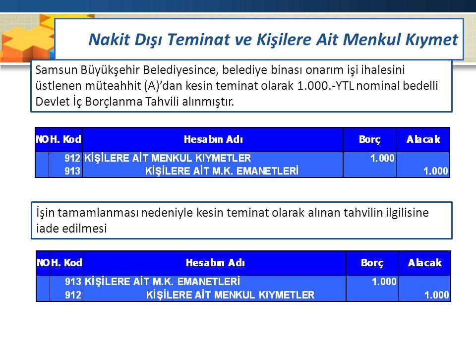 Samsun Büyükşehir Belediyesince, belediye binası onarım işi ihalesini üstlenen müteahhit (A)'dan kesin teminat olarak 1.000.-YTL nominal bedelli Devle