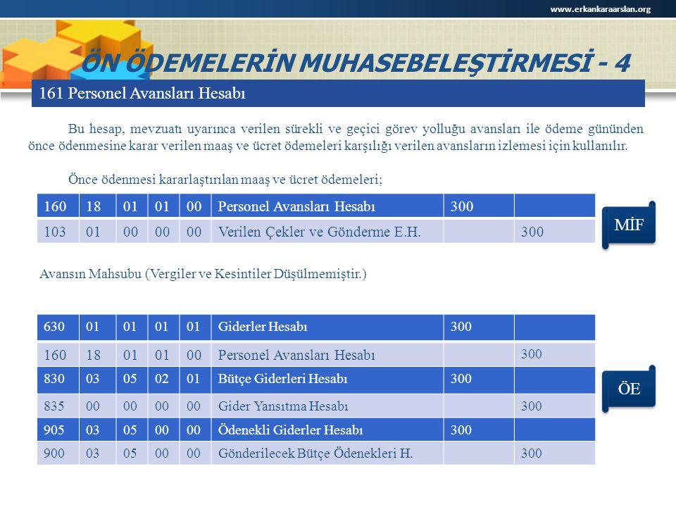 ÖN ÖDEMELERİN MUHASEBELEŞTİRMESİ - 4 161 Personel Avansları Hesabı 1601801 00Personel Avansları Hesabı300 1030100 Verilen Çekler ve Gönderme E.H.300 B