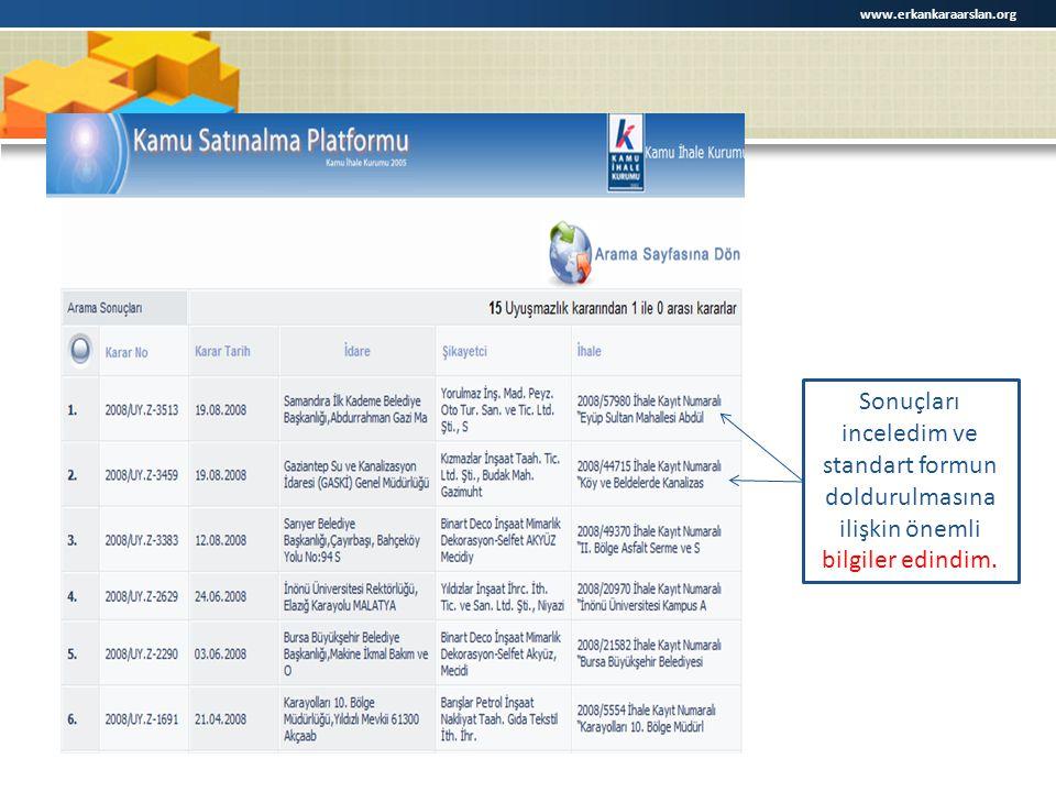 Sonuçları inceledim ve standart formun doldurulmasına ilişkin önemli bilgiler edindim. www.erkankaraarslan.org