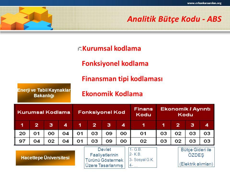 Analitik Bütçe Kodu - ABS   Kurumsal kodlama ã Fonksiyonel kodlama ã Finansman tipi kodlaması ã Ekonomik Kodlama Enerji ve Tabii Kaynaklar Bakanlığı