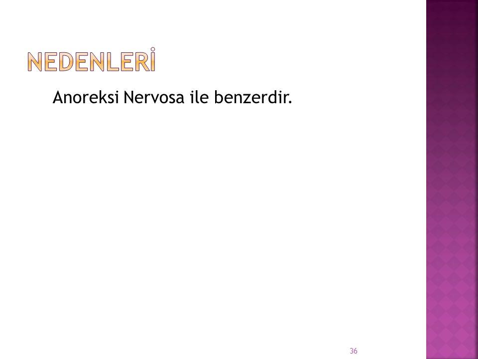 Anoreksi Nervosa ile benzerdir. 36
