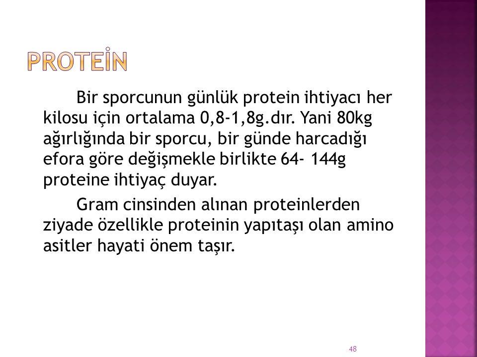 Bir sporcunun günlük protein ihtiyacı her kilosu için ortalama 0,8-1,8g.dır. Yani 80kg ağırlığında bir sporcu, bir günde harcadığı efora göre değişmek
