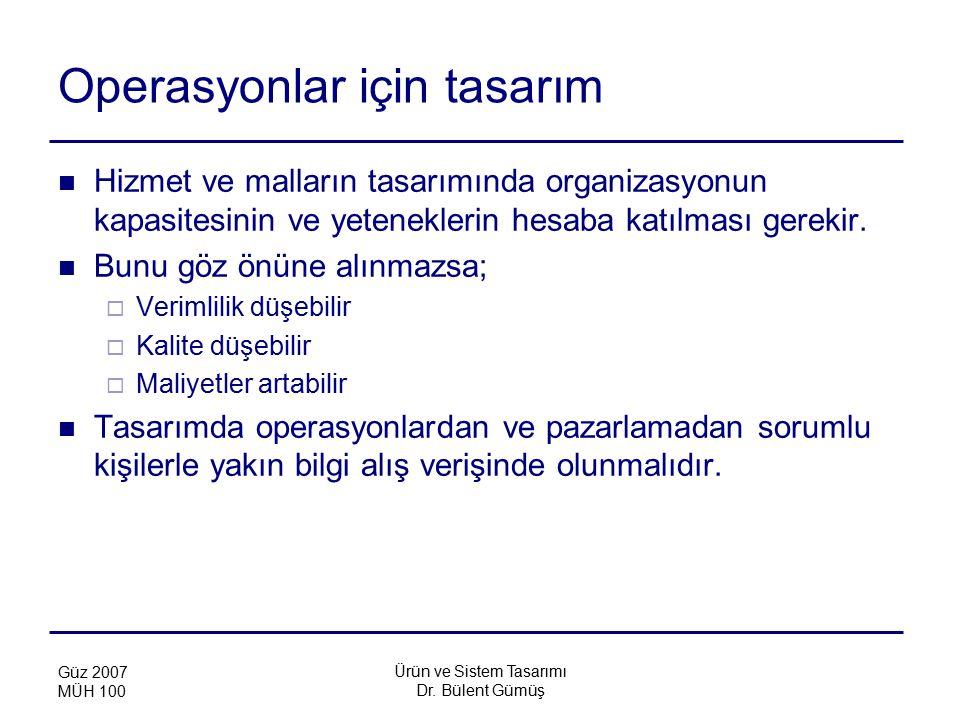 Ürün ve Sistem Tasarımı Dr. Bülent Gümüş Güz 2007 MÜH 100