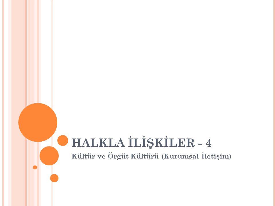 HALKLA İLİŞKİLER - 4 Kültür ve Örgüt Kültürü (Kurumsal İletişim)