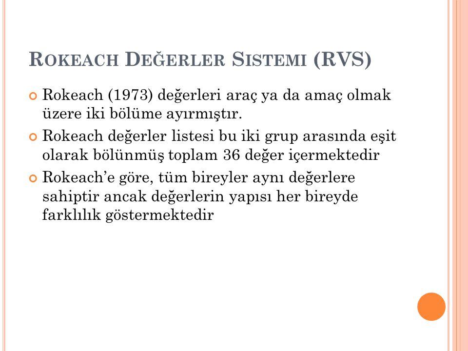 R OKEACH D EĞERLER S ISTEMI (RVS) Rokeach (1973) değerleri araç ya da amaç olmak üzere iki bölüme ayırmıştır.