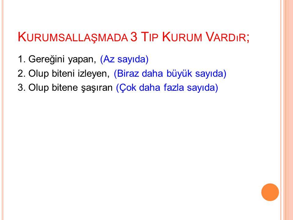 K URUMSALLAŞMADA 3 T IP K URUM V ARDıR ; 1.Gereğini yapan, (Az sayıda) 2.