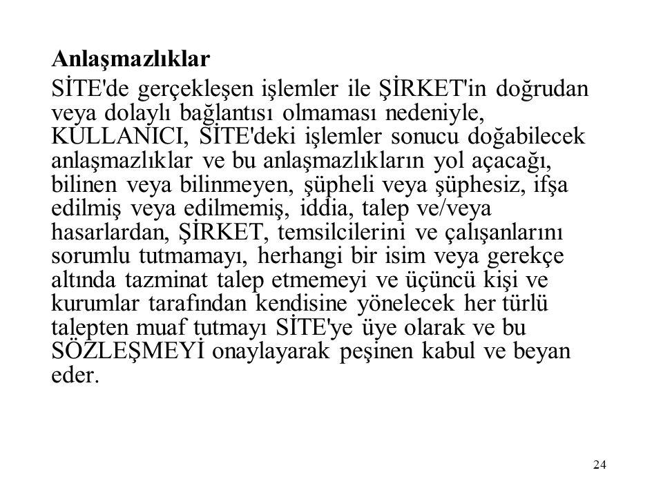 Anlaşmazlıklar SİTE'de gerçekleşen işlemler ile ŞİRKET'in doğrudan veya dolaylı bağlantısı olmaması nedeniyle, KULLANICI, SİTE'deki işlemler sonucu do