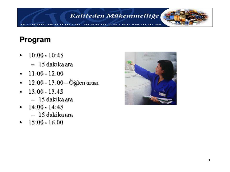 Kaliteden Mükemmelliğe ! 3 Program 10:00 - 10:45 –15 dakika ara 11:00 - 12:00 12:00 - 13:00 – Öğlen arası 13:00 - 13.45 –15 dakika ara 14:00 - 14:45 –