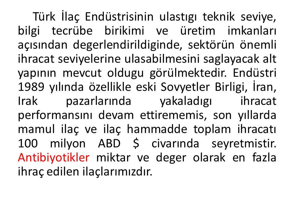 Türk İlaç Endüstrisinin ulastıgı teknik seviye, bilgi tecrübe birikimi ve üretim imkanları açısından degerlendirildiginde, sektörün önemli ihracat seviyelerine ulasabilmesini saglayacak alt yapının mevcut oldugu görülmektedir.