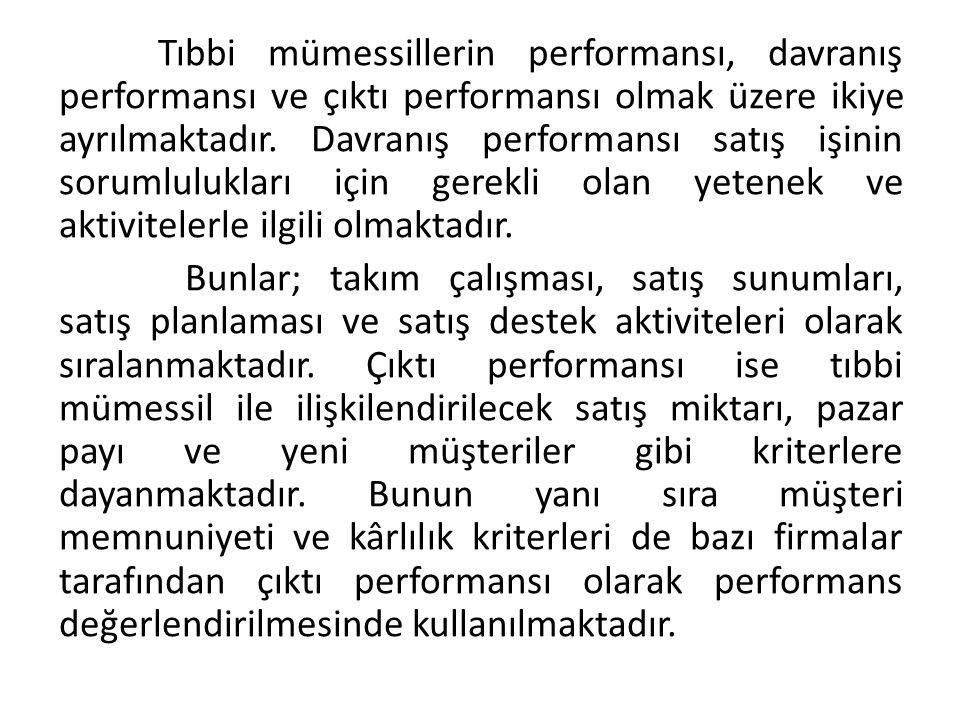 Tıbbi mümessillerin performansı, davranış performansı ve çıktı performansı olmak üzere ikiye ayrılmaktadır.