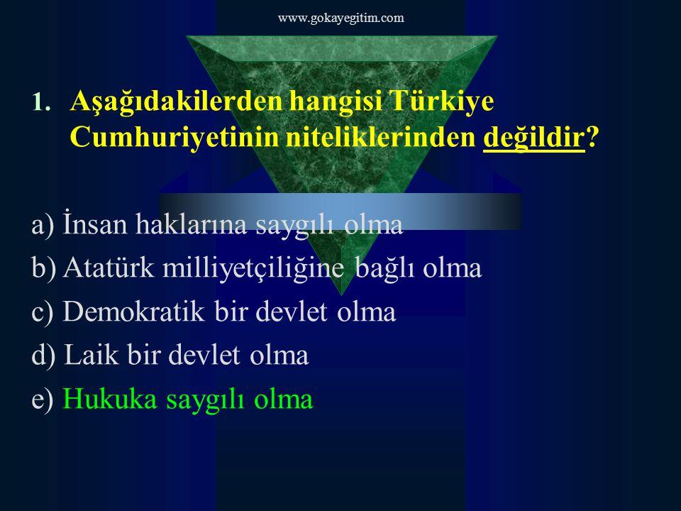 1. Aşağıdakilerden hangisi Türkiye Cumhuriyetinin niteliklerinden değildir.