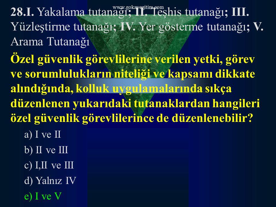 www.gokayegitim.com 28.I. Yakalama tutanağı; II. Teşhis tutanağı; III. Yüzleştirme tutanağı; IV. Yer gösterme tutanağı; V. Arama Tutanağı Özel güvenli