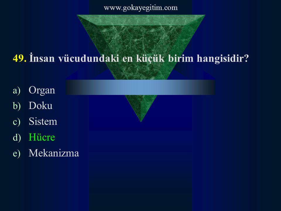 www.gokayegitim.com 49. İnsan vücudundaki en küçük birim hangisidir.