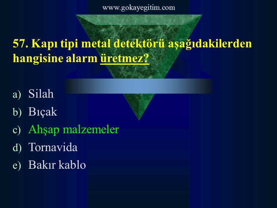 www.gokayegitim.com 57. Kapı tipi metal detektörü aşağıdakilerden hangisine alarm üretmez.
