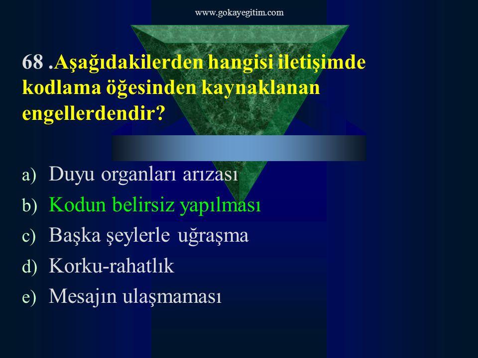 www.gokayegitim.com 68.Aşağıdakilerden hangisi iletişimde kodlama öğesinden kaynaklanan engellerdendir.