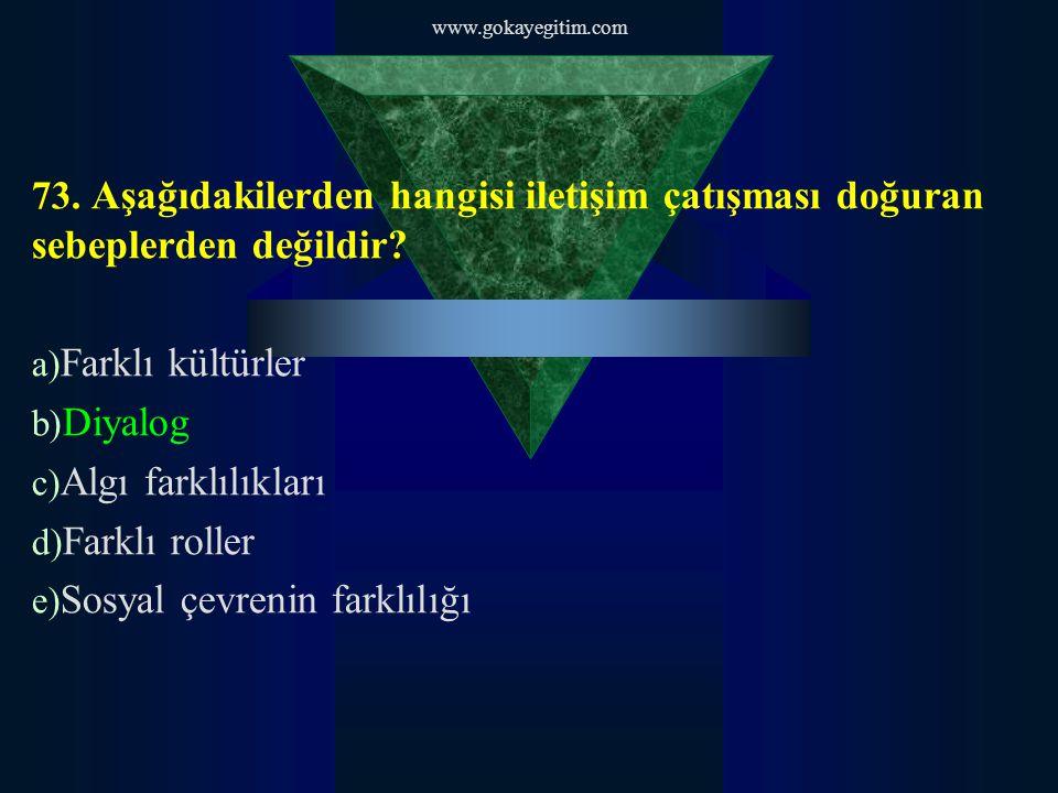 www.gokayegitim.com 73. Aşağıdakilerden hangisi iletişim çatışması doğuran sebeplerden değildir.