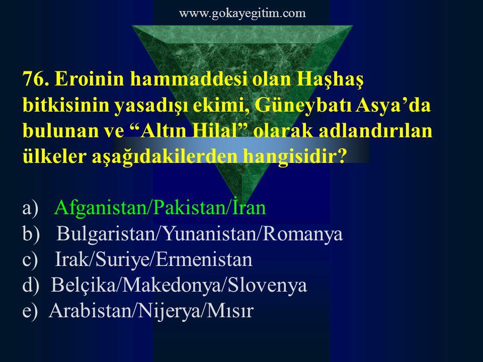 """www.gokayegitim.com 76. Eroinin hammaddesi olan Haşhaş bitkisinin yasadışı ekimi, Güneybatı Asya'da bulunan ve """"Altın Hilal"""" olarak adlandırılan ülkel"""