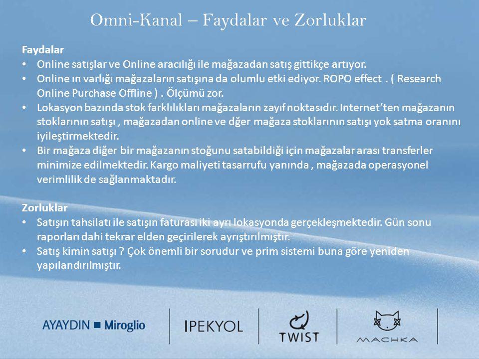 Omni-Kanal – Faydalar ve Zorluklar Faydalar Online satışlar ve Online aracılığı ile mağazadan satış gittikçe artıyor. Online ın varlığı mağazaların sa
