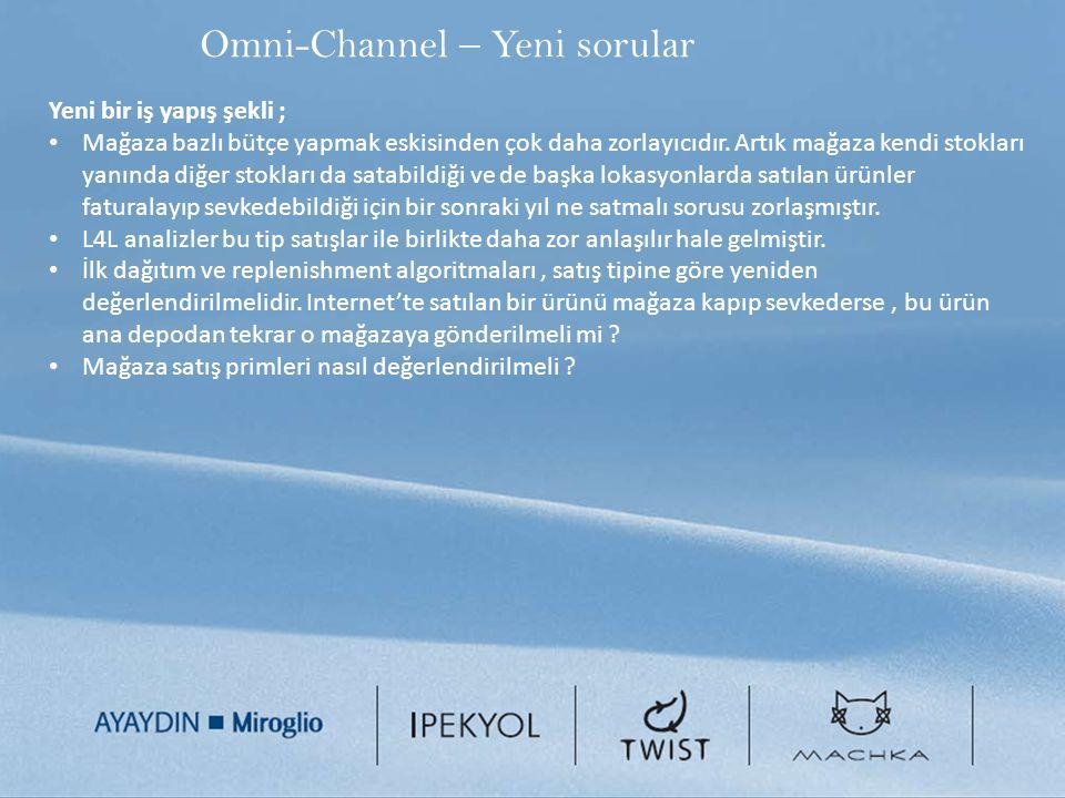 Omni-Channel – Yeni sorular Yeni bir iş yapış şekli ; Mağaza bazlı bütçe yapmak eskisinden çok daha zorlayıcıdır. Artık mağaza kendi stokları yanında