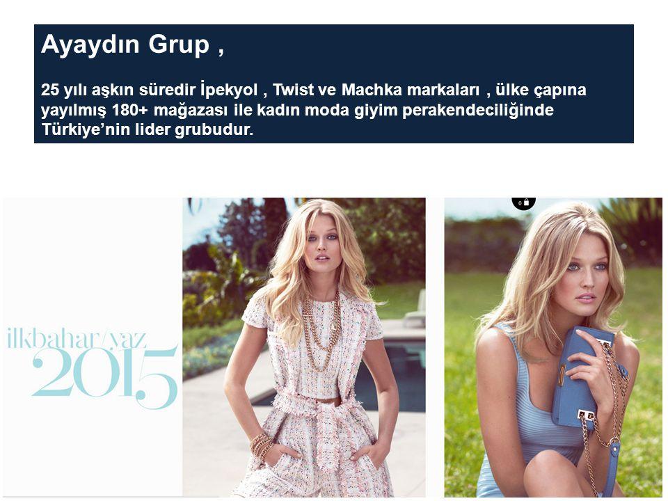 Ayaydın Grup, 25 yılı aşkın süredir İpekyol, Twist ve Machka markaları, ülke çapına yayılmış 180+ mağazası ile kadın moda giyim perakendeciliğinde Türkiye'nin lider grubudur.
