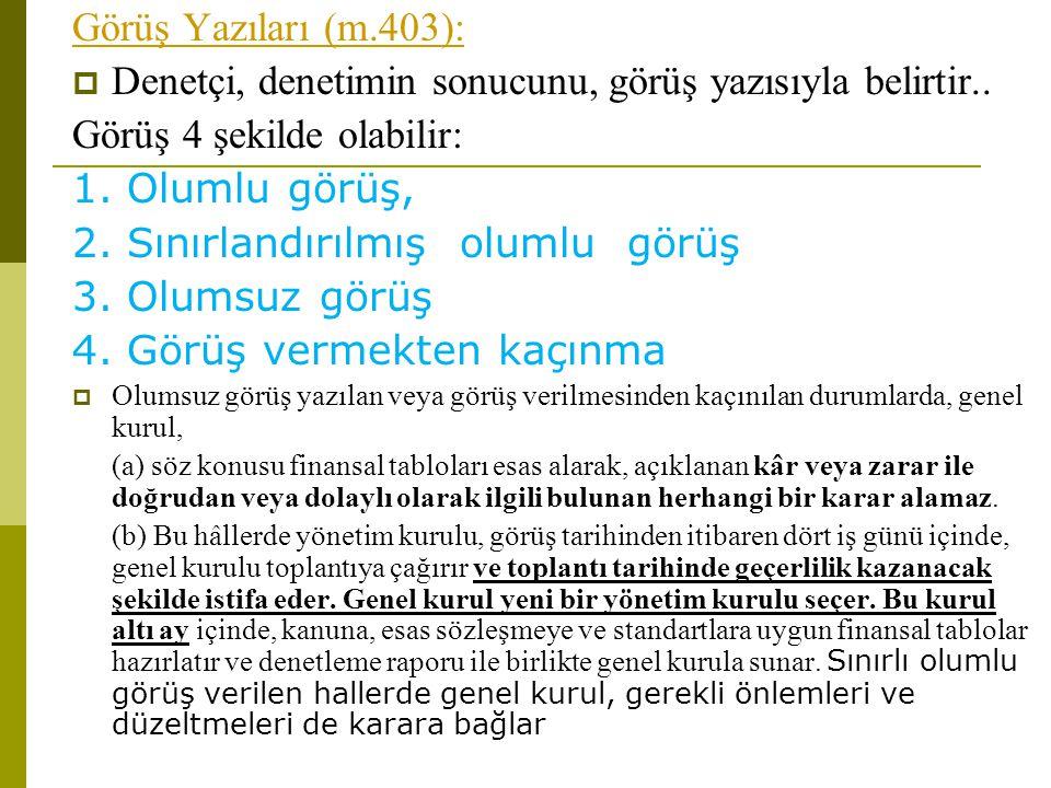 Görüş Yazıları (m.403):  Denetçi, denetimin sonucunu, görüş yazısıyla belirtir..