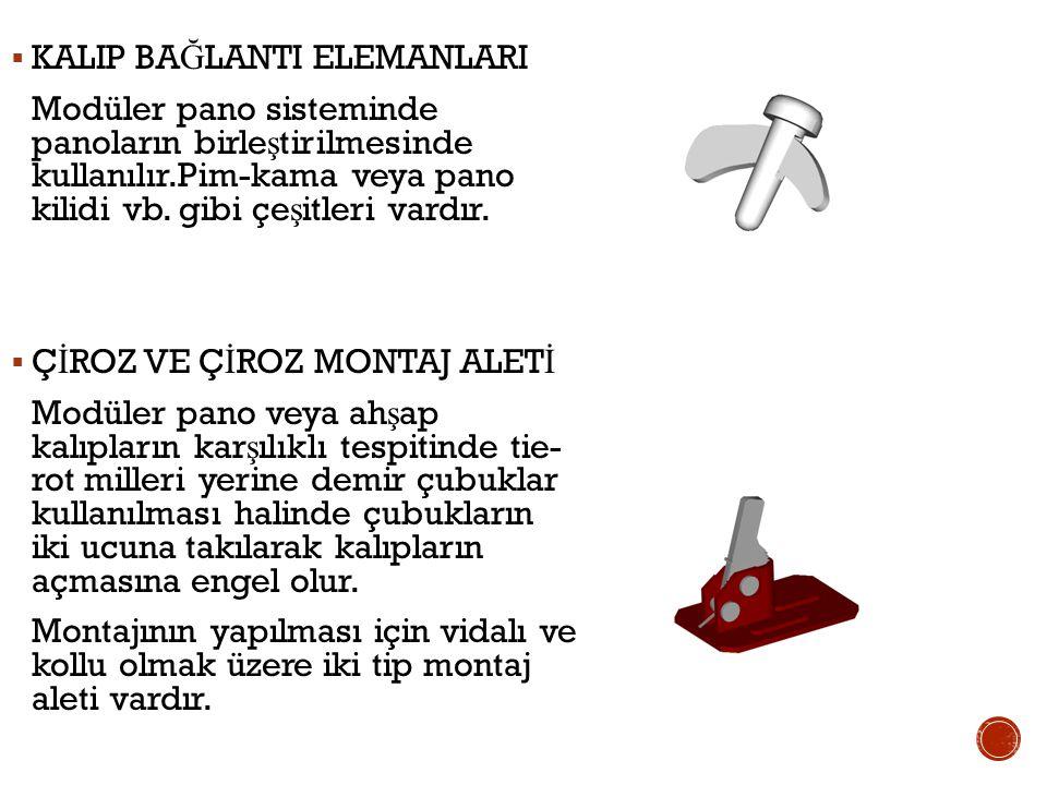  KALIP BA Ğ LANTI ELEMANLARI Modüler pano sisteminde panoların birle ş tirilmesinde kullanılır.Pim-kama veya pano kilidi vb.