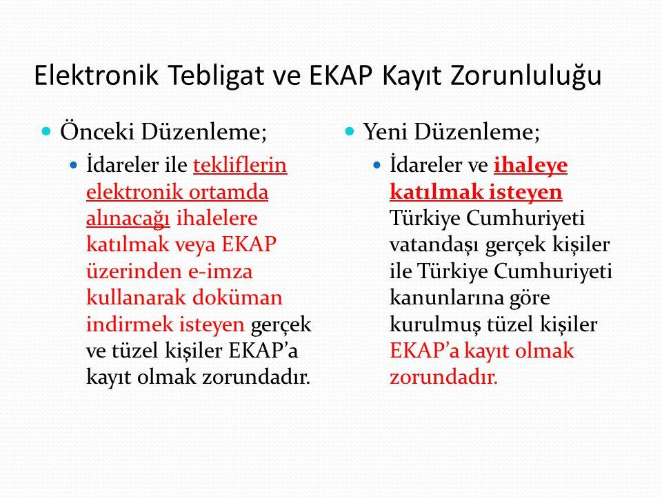 Elektronik Tebligat ve EKAP Kayıt Zorunluluğu Önceki Düzenleme; İdareler ile tekliflerin elektronik ortamda alınacağı ihalelere katılmak veya EKAP üze