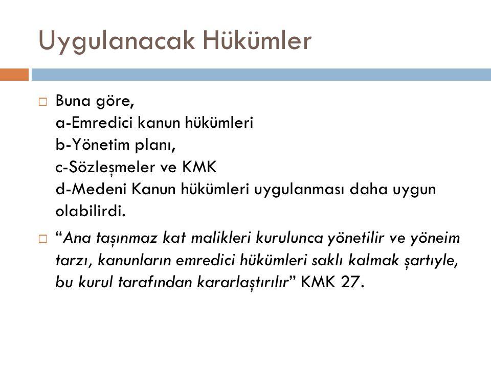 Ortak yerler üzerinde hakları  Kat malikleri ortak yerler üzerinde müşterek mülkiyet esaslarına göre maliktirler KMK 16.