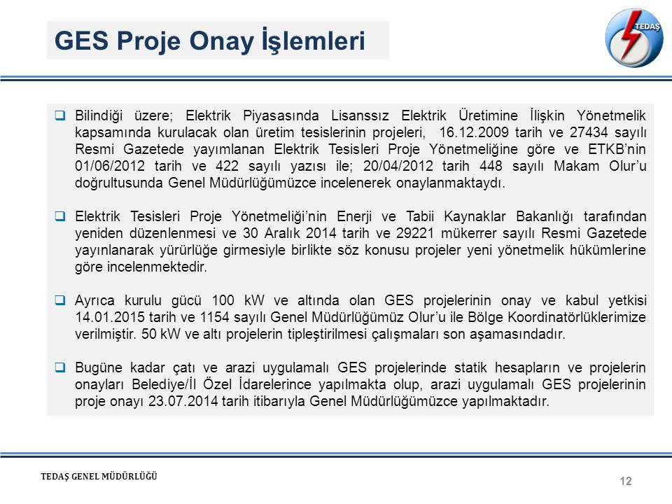 12  Bilindiği üzere; Elektrik Piyasasında Lisanssız Elektrik Üretimine İlişkin Yönetmelik kapsamında kurulacak olan üretim tesislerinin projeleri, 16.12.2009 tarih ve 27434 sayılı Resmi Gazetede yayımlanan Elektrik Tesisleri Proje Yönetmeliğine göre ve ETKB'nin 01/06/2012 tarih ve 422 sayılı yazısı ile; 20/04/2012 tarih 448 sayılı Makam Olur'u doğrultusunda Genel Müdürlüğümüzce incelenerek onaylanmaktaydı.