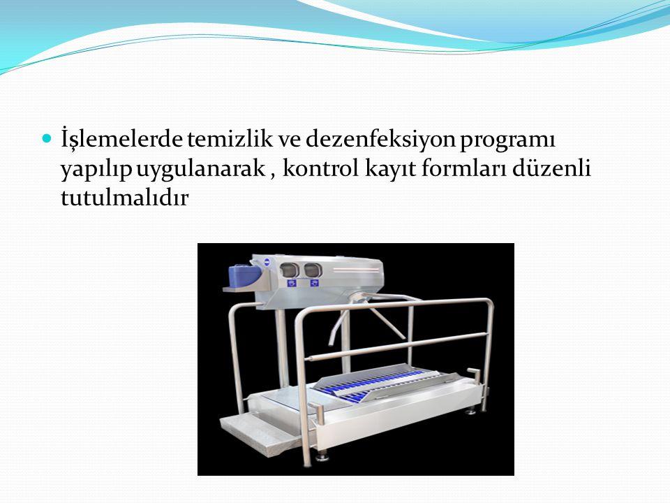 İşlemelerde temizlik ve dezenfeksiyon programı yapılıp uygulanarak, kontrol kayıt formları düzenli tutulmalıdır