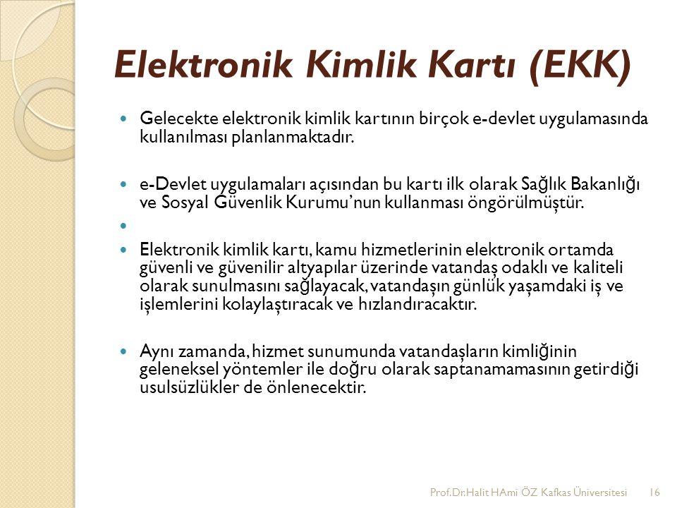 Elektronik Kimlik Kartı (EKK) Gelecekte elektronik kimlik kartının birçok e-devlet uygulamasında kullanılması planlanmaktadır. e-Devlet uygulamaları a