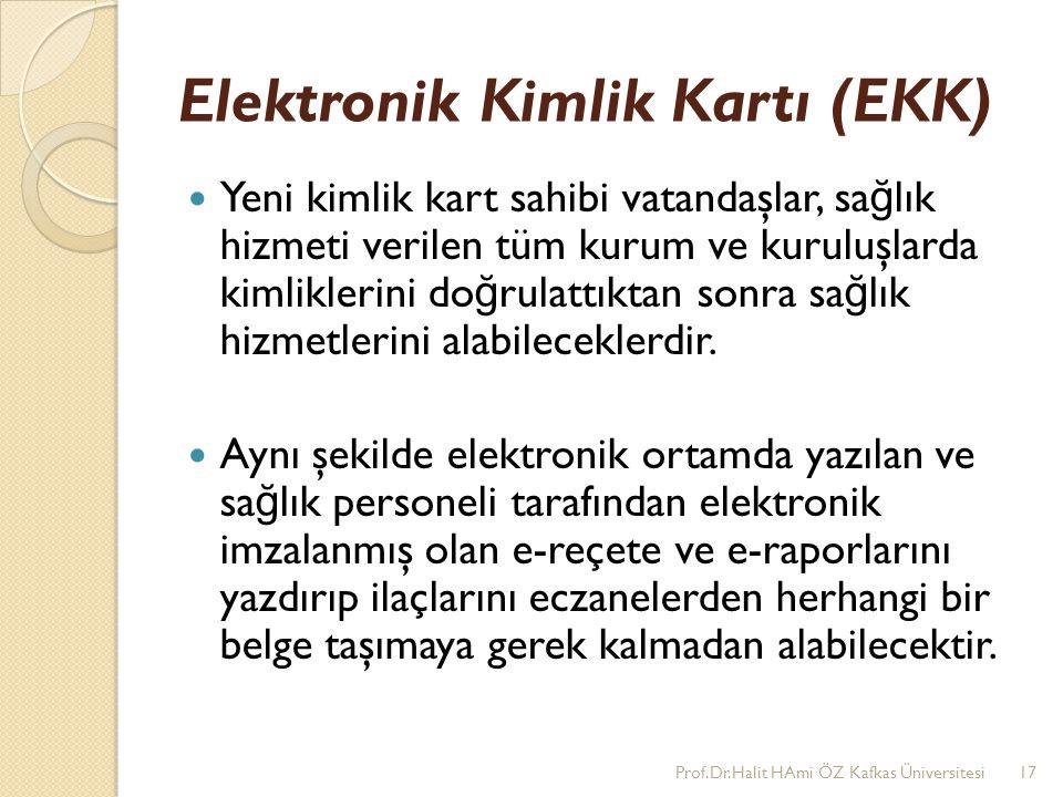Elektronik Kimlik Kartı (EKK) Yeni kimlik kart sahibi vatandaşlar, sa ğ lık hizmeti verilen tüm kurum ve kuruluşlarda kimliklerini do ğ rulattıktan so