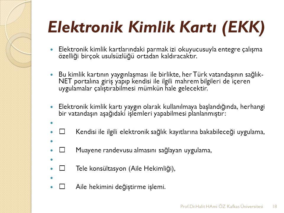 Elektronik Kimlik Kartı (EKK) Elektronik kimlik kartlarındaki parmak izi okuyucusuyla entegre çalışma özelli ğ i birçok usulsüzlü ğ ü ortadan kaldırac