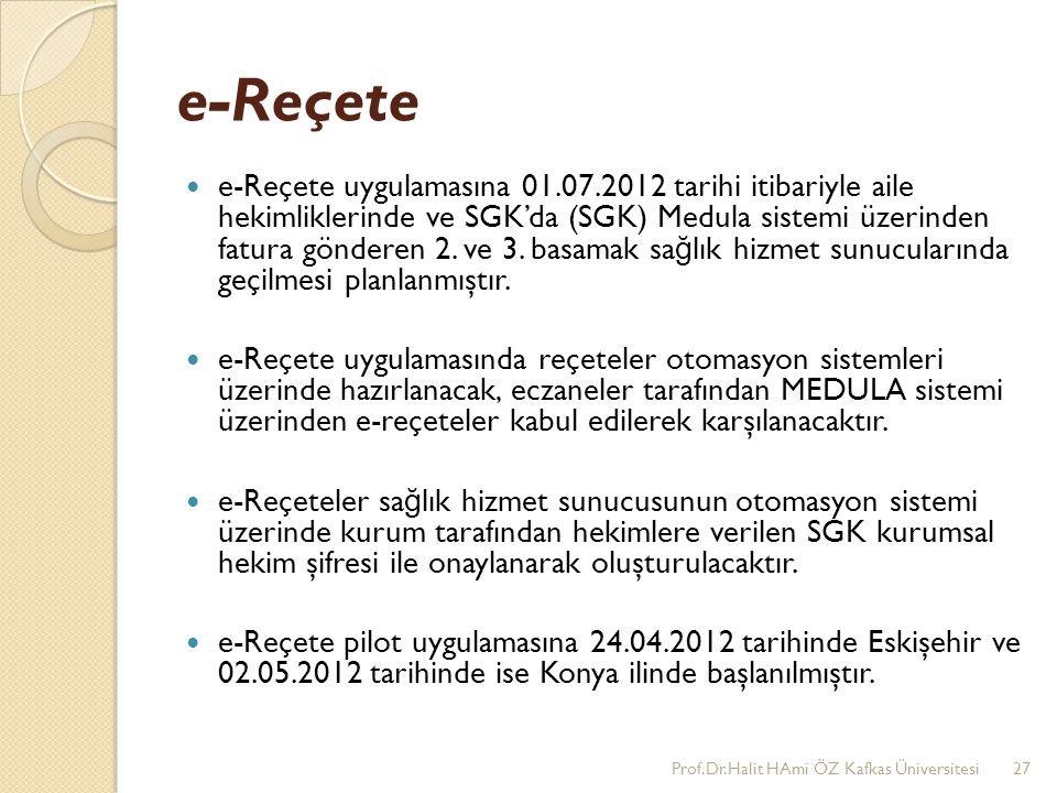 e-Reçete e-Reçete uygulamasına 01.07.2012 tarihi itibariyle aile hekimliklerinde ve SGK'da (SGK) Medula sistemi üzerinden fatura gönderen 2. ve 3. bas