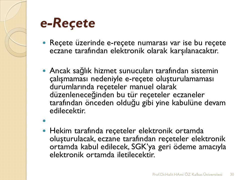 e-Reçete Reçete üzerinde e-reçete numarası var ise bu reçete eczane tarafından elektronik olarak karşılanacaktır. Ancak sa ğ lık hizmet sunucuları tar