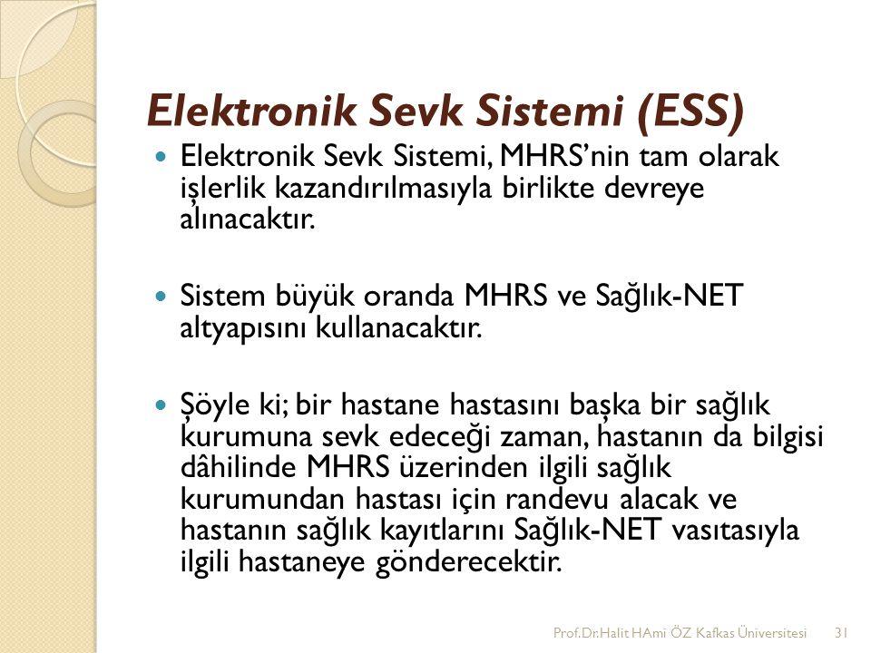 Elektronik Sevk Sistemi (ESS) Elektronik Sevk Sistemi, MHRS'nin tam olarak işlerlik kazandırılmasıyla birlikte devreye alınacaktır. Sistem büyük orand