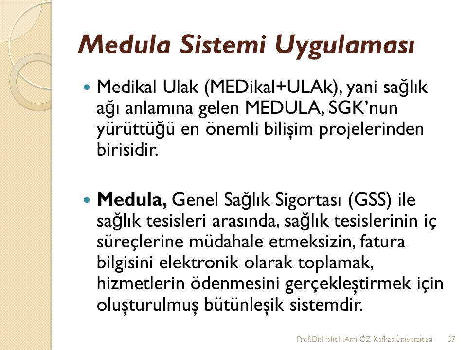 Medula Sistemi Uygulaması Medikal Ulak (MEDikal+ULAk), yani sa ğ lık a ğ ı anlamına gelen MEDULA, SGK'nun yürüttü ğ ü en önemli bilişim projelerinden